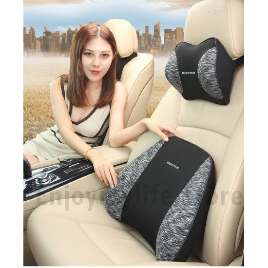 Memory Foam Lumbar Back Support Pillow with Neck Pillow Set