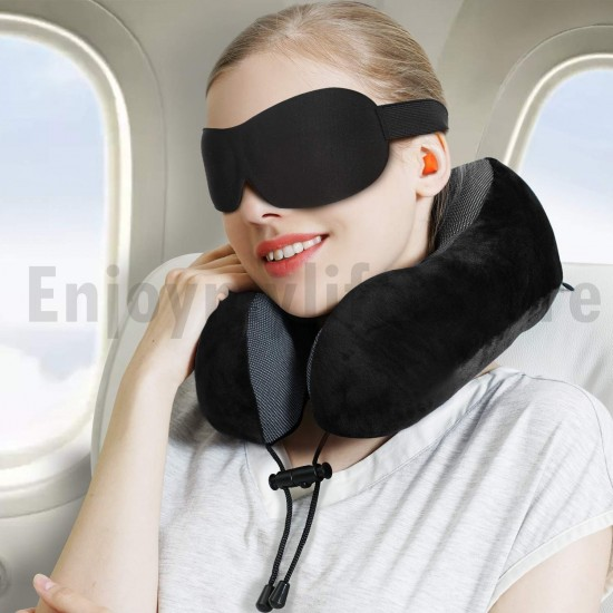 Travel Pillow 100% Pure Memory Foam With Breathable Cove Neck Pillow