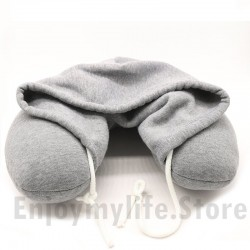 Cotton Particle Filler U Shape Travel Pillow with Hood